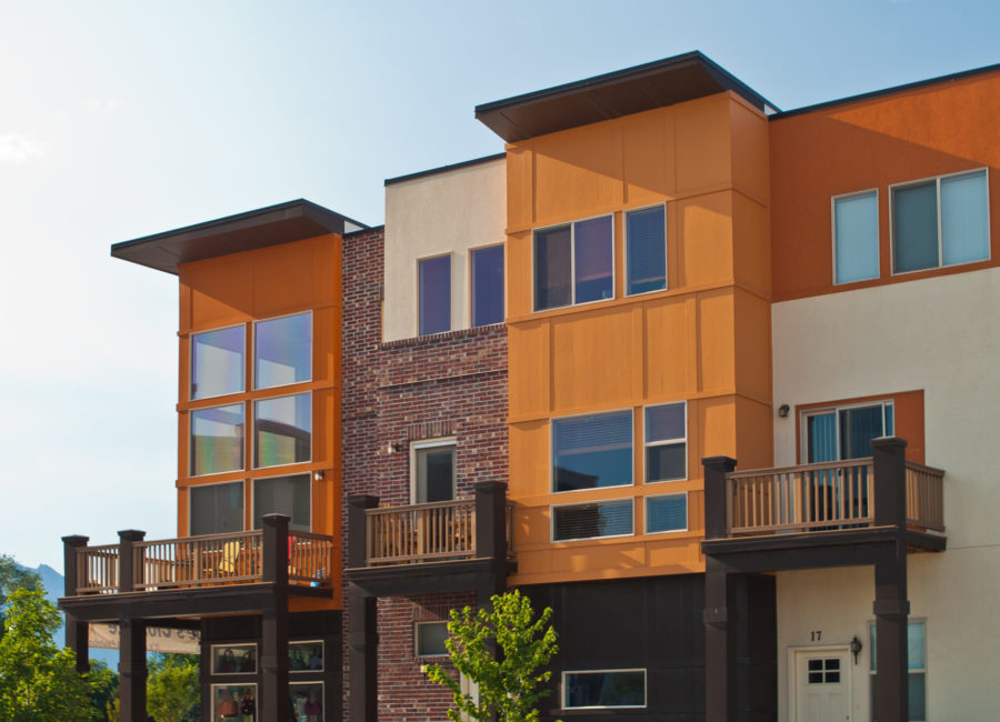 balcony on mixed-use townhomes in Utah