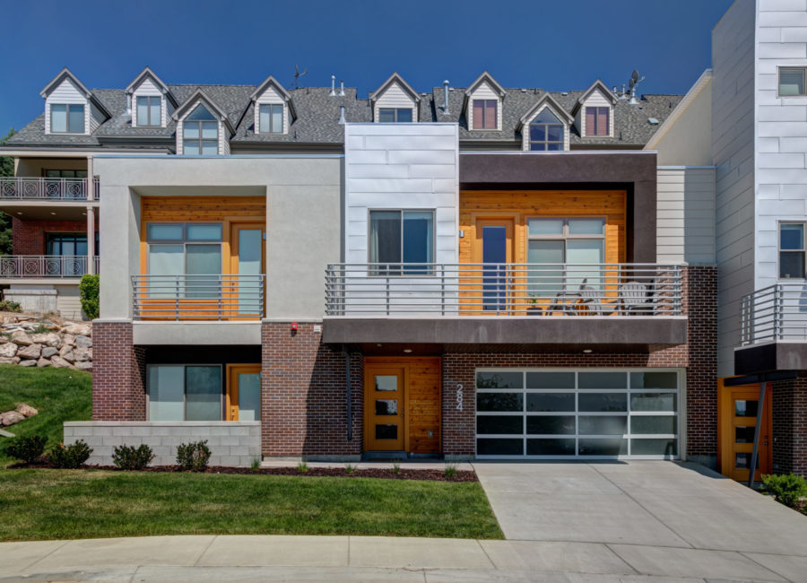Front of modern town home near Capitol Hill in Salt Lake City