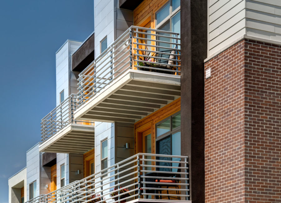 Side view of downtown Salt Lake townhomes designed by Think Architecture