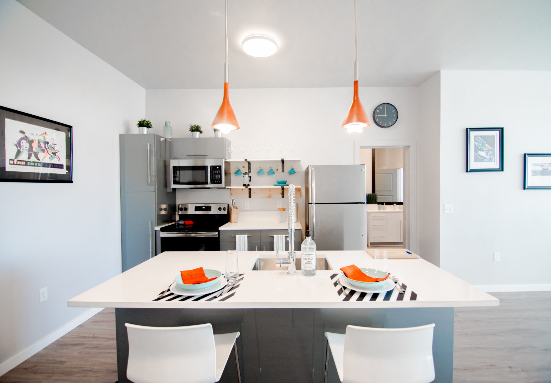 Modern apartment kitchen in Salt Lake City apartment building