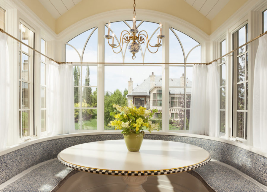 Breakfast nook in custom home designed by Think Architecture