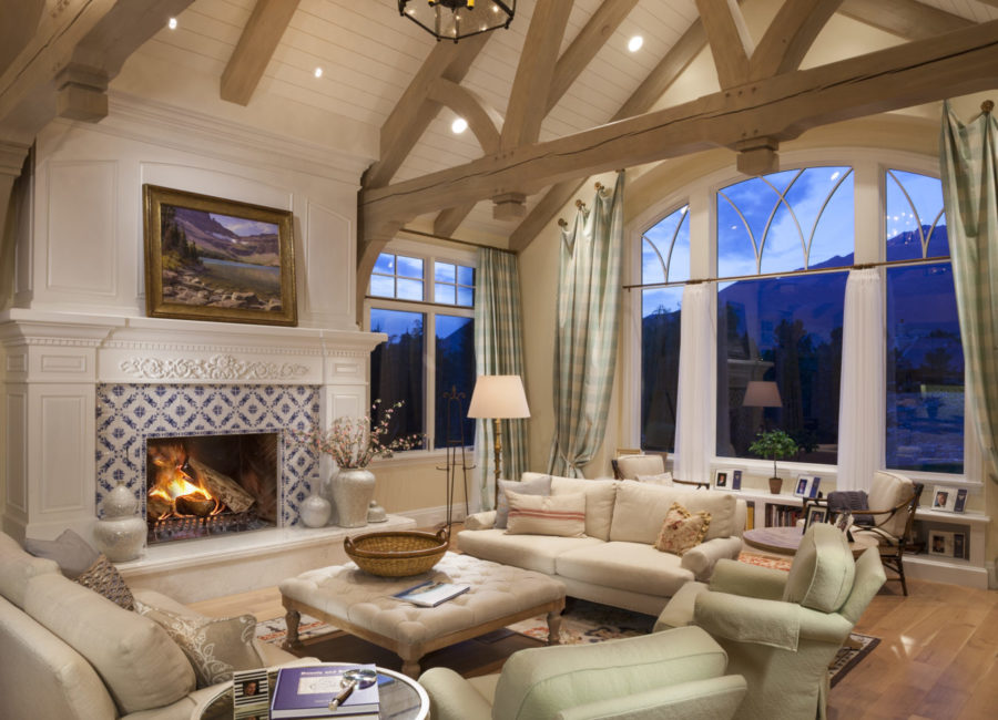 Greatroom with large fireplace in Utah custom home