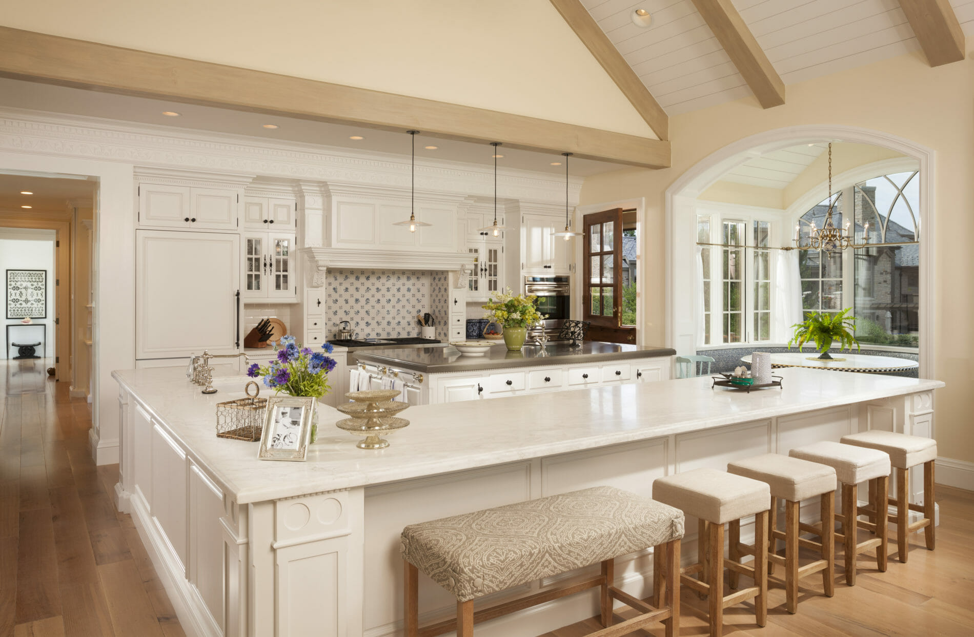Large white kitchen in custom built home